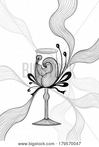 Beautiful abstract wineglass with lace flower bows black on white for decoration package or for wallpaper or  for advertising  Glassware or wine cocktail  or for coloring page