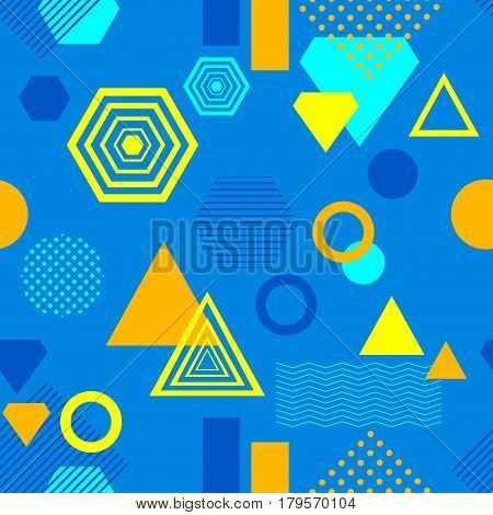 Abstract seamless pattern in postmodern Memphis Style blue yellow orange for wallpaper or package or for clothes or for creative design summer holiday