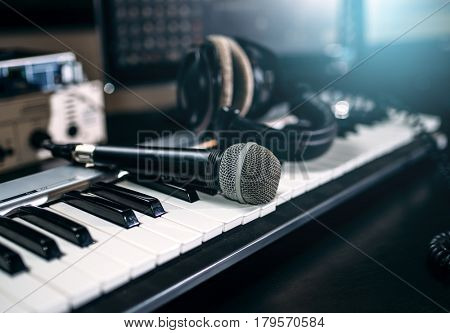 Professional music studio equipment, closeup