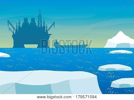 Oil platform and oil tanker in the Arctic.