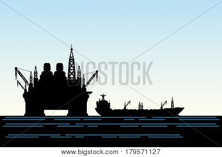 Oil platform and oil tanker in the sea.