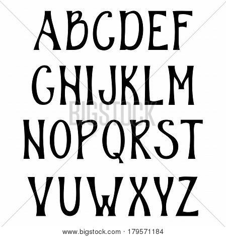 Hand drawn upper case alphabet. Vintage handwritten font in gothic style. Vector illustration