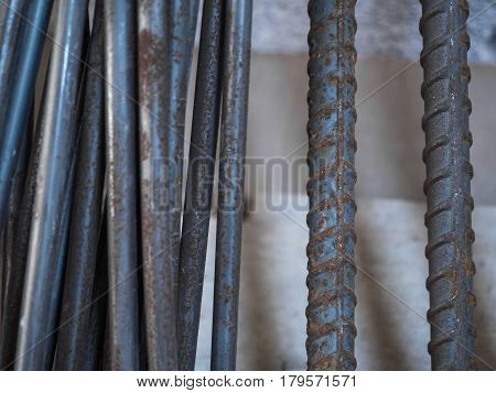 Close up Steel Deformed Bar and Steel Round Bar