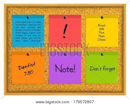 Colorful sticky notes pinned to a cork notice board with push pins.