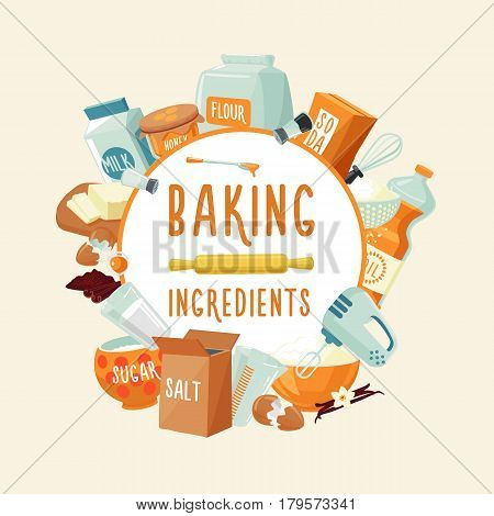 Colorful baking ingredients round concept with food products spices seasoning and kitchen tools isolated vector illustration