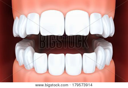 Human jaw and white tooth. 3d illustration