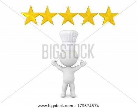 3D Illustration of five star chef wearing a chef hat with 5 golden stars above him