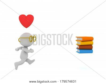 3D Character is in love with reading and is running after a stack of books. There is a cartoon heart above the character and he is wearing glasses.