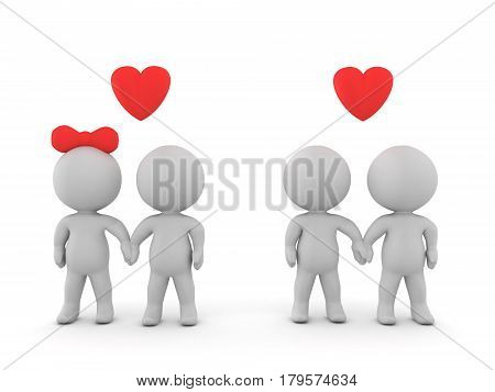 3D Illustration of same sex couple and straight couple. Image with both heterosexual and homosexual couple.