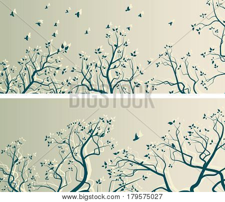 Set of horizontal wide banners of stylized tree branches and flock of birds.
