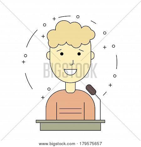 avatar man on tribune for speech. Flat line style. Vector illustration