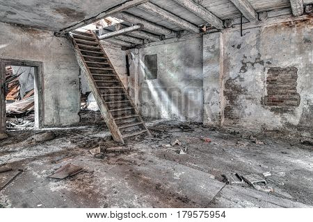 Staircase the old abandoned and crumbling building Czech republic