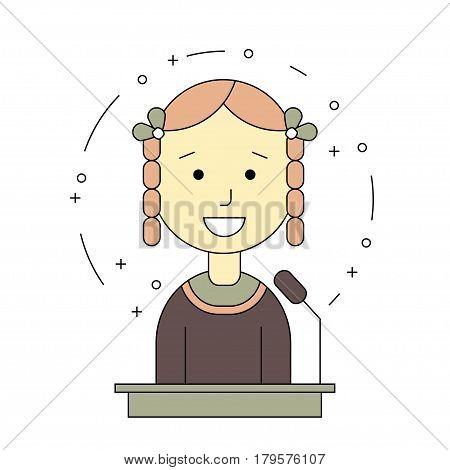 avatar girl on tribune for speech. Flat line style. Vector illustration