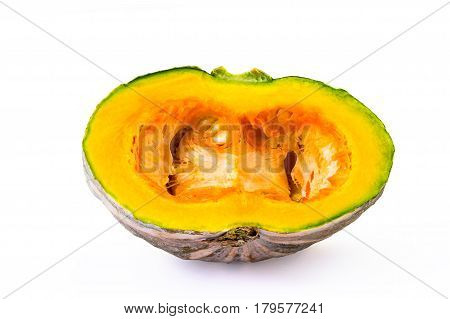Half-cleaved Kabocha squash isolated on white background and clipping path