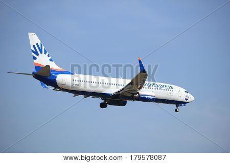 Amsterdam the Netherlands - July 21st 2016: D-ASXD SunExpress Germany Boeing 737 approaching Polderbaan runway at Schiphol Amsterdam Airport arriving from Vienna Austria