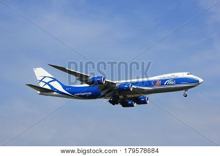 Amsterdam the Netherlands - July 21st 2016:VQ-BGZ AirBridgeCargo Boeing 747 approaching Polderbaan runway at Schiphol Amsterdam Airport arriving from Moscow Russia