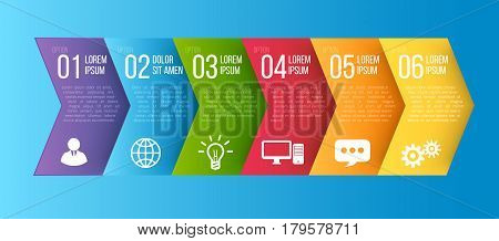 Infographic arrows style colored menu or option, vector template for timeline workflow presentation or features set