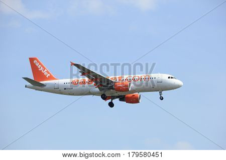 Amsterdam the Netherlands - March 31st 2017: G-EZUR easyJet Airbus A320-200 approaching Polderbaan runway at Schiphol Amsterdam Airport the Netherlands