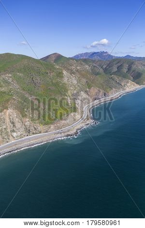 Aerial view of Pacific Coast Highway north of Malibu, California.