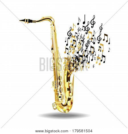 The saxophone breaks into notes isolated on a white background. Vector illustration.