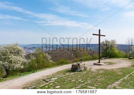 Birkenkopf Stuttgart Park Monument Location Overlook View Panorama Kessel Germany Baden Wuerttemberg