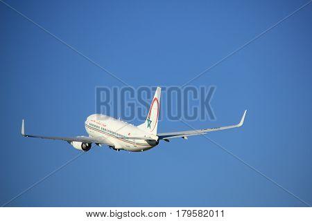 Amsterdam the Netherlands - August 18th 2016: CN-RNR Royal Air Maroc Boeing 737-7B6 taking off from Polderbaan Runway Amsterdam Airport Schiphol