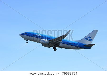 Amsterdam the Netherlands - March 25th 2017: PH-BGK KLM Royal Dutch Airlines Boeing 737-700 takeoff from Polderbaan runway.