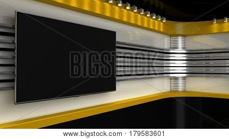 Tv Studio. Yellow Studio. Backdrop For Tv Shows .tv On Wall. News Studio. The Perfect Backdrop For A