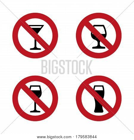 No alcohol Signs set with various drink glasses. Vector