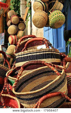 Basket work on street market