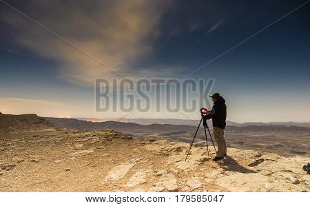 Night photography in desert of Israel travel