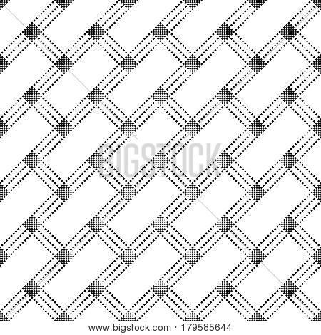 Vector seamless pattern. Infinitely repeating stylish elegant texture consisting of small rhombuses which form diagonal rectangle shapes. Modern geometrical textured background.