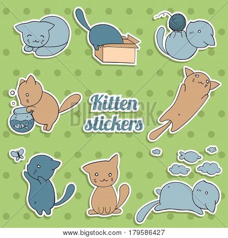 seamless pattern with cute kittens in different situations on green background