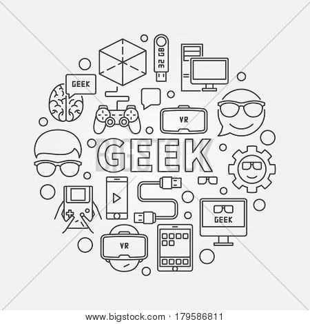 Linear geek illustration. Vector round minimal symbol in thin line style made with the word GEEK in center and device icons