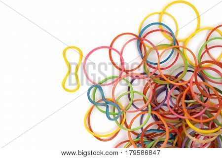 Pile of colorful rubber band with white background.