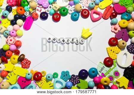 Beads Background. Retro Top View Colorful Bead Heap. child background. words from beads and beads