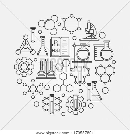 Chemistry lab round illustration. Vector biotechnology and molecular biology concept symbol in thin line style