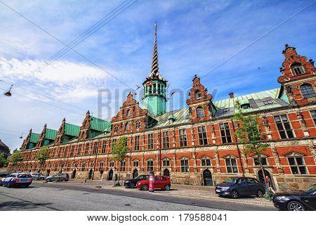 COPENHAGEN DENMARK - June 15: Borsen is a building in central Copenhagen Denmark. It was built by Christian IV in 1619 1640 and is the oldest stock exchange in Denmark 2012