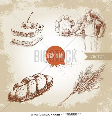 Hand drawn set bakery illustrations. Baker making fresh bread in stone oven cream chocolate cake with cherry fresh sesame bun and wheat bunch.