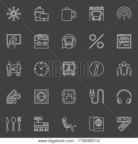 Bus travel outline icons. Vector collection of longer-distance intercity and international bus services signs on dark background