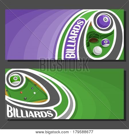 Vector banners for Billiards game: purple billiards ball on curve trajectory flying above pool table, 2 template tickets to snooker tournament with empty for title text on green abstract background.
