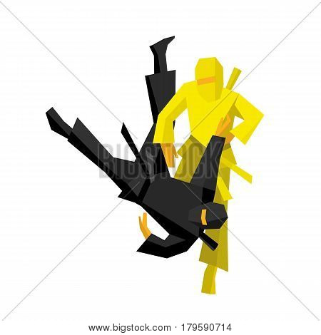 Two japanese ninja warriors fight. Martial arts competition. Isolated on white background.