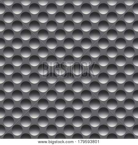 Metal seamless pattern with round holes, raster. Digitally generated metal tile with symmetric concave circles.