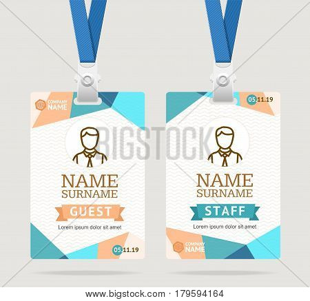 Id Card Template Plastic Badge with Abstract Colored Polygonal Design. Vector illustration
