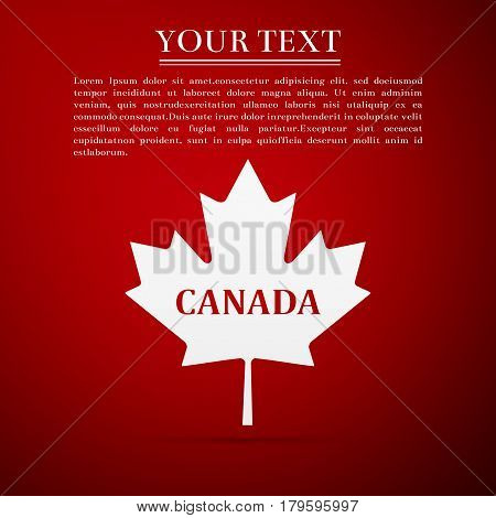 Canadian maple leaf with city name Canada flat icon on red background. Vector Illustration