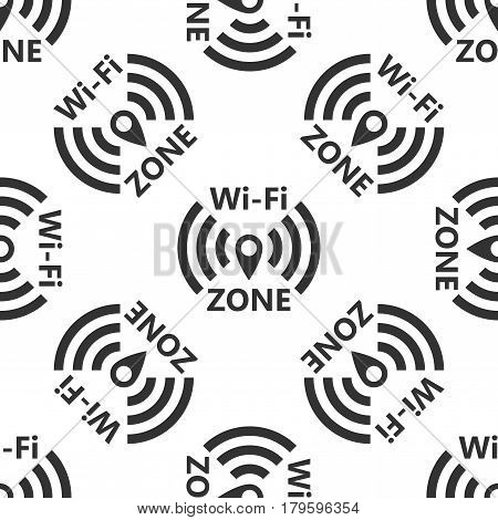Wi-Fi network icon seamless pattern on white background. Vector Illustration
