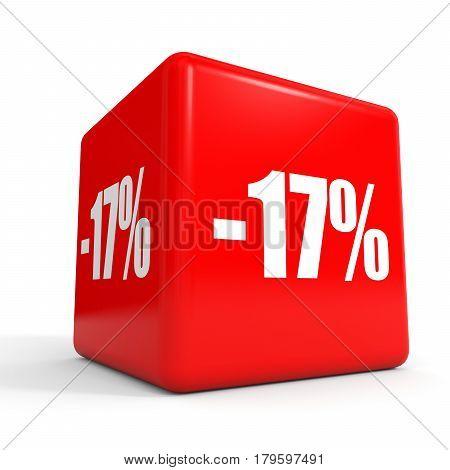 Seventeen Percent Off. Discount 17 %. Red Cube.