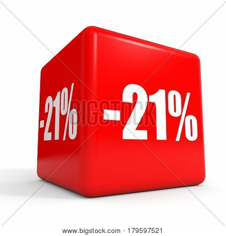 Twenty One Percent Off. Discount 21 %. Red Cube.