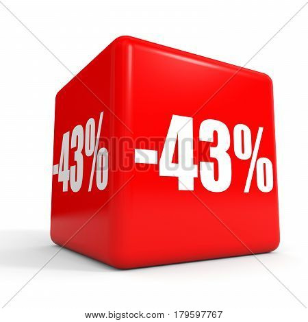 Forty Three Percent Off. Discount 43 %. Red Cube.