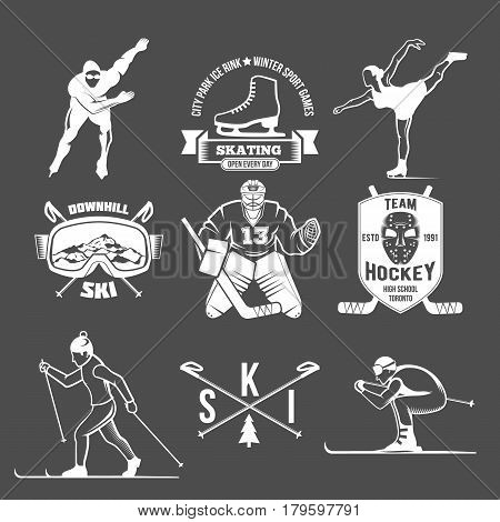 Winter sport label logo design. Ice skating boot, speed scating, figure skating, ice hockey, ice skating, ski, downhill. Winter sports. Retro logo design. Old school sport logo. Monochrome badges.